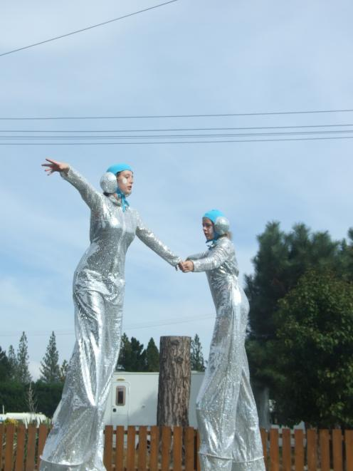 Lena Hawthorne (left) and Brooklyn Harrington combine during their stilts performance in Ranfurly...