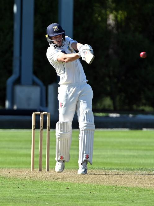 Otago batsman Mitchell Renwick plays the ball on to the onside during his maiden first-class...