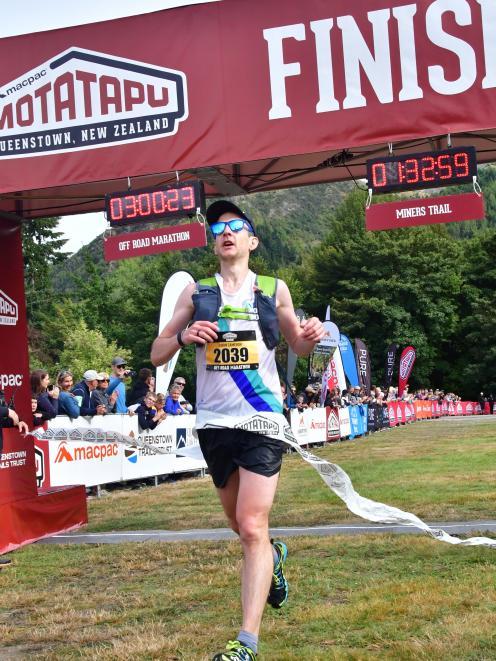 Ewan Cameron wins the Motatapu men's off road marathon at Motatapu yesterday. PHOTO: FINISHERPIX...