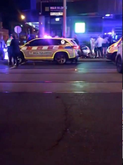 Police and rescue services are seen following a shooting incident outside a nightclub, in Prahran...