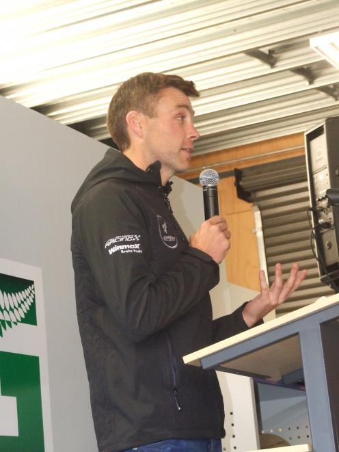 Hayden Paddon speaks at the official opening of Paddon Rallysport in Cromwell last night.