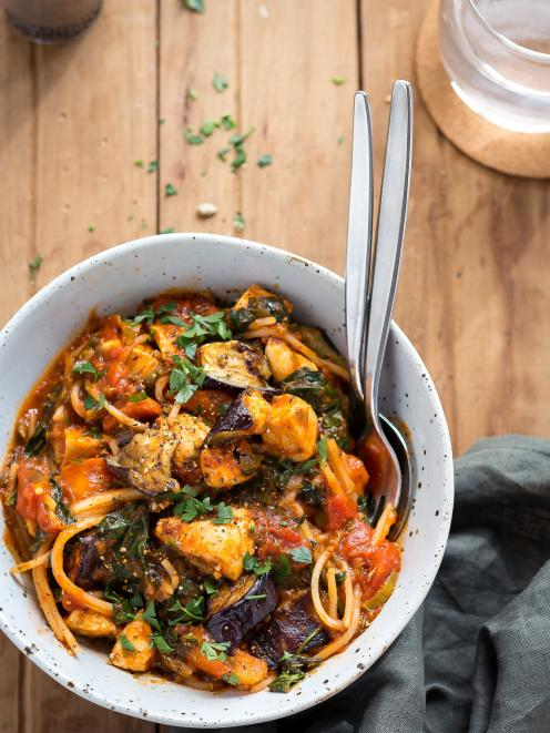 Chicken and roast vege pasta in red wine. PHOTOS: SUPPLIED