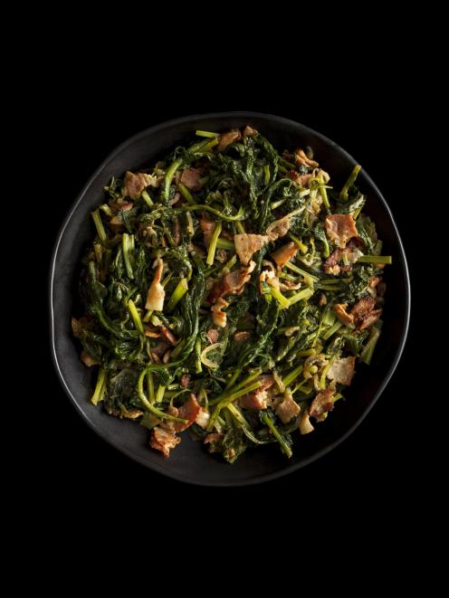 Daryle Brantley's mustard greens from The Recipe, by Josh Emett. Photo: Kieran E. Scott