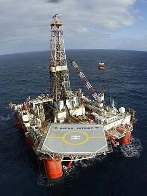 The rig Ocean Patriot, the second-last rig seen off the coast of Oamaru, test drilling in 2006. Photo: Supplied