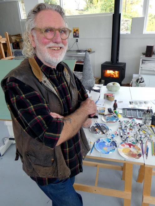 Artist Dick Frizzell enjoys feeling like a local during his stay as artist in residence at Henderson House in Alexandra. Photo: Simon Henderson