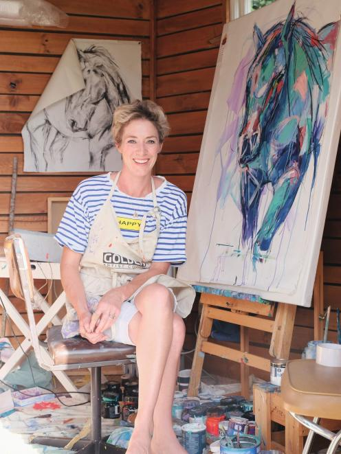 Artist and actor Amelia Guild at home in her studio in the Canterbury high country. Photo: Julia...