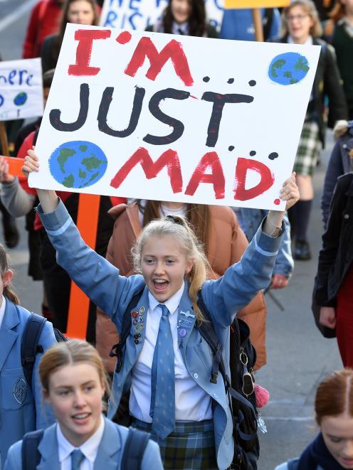 St Hilda's Collegiate pupil Georgia Broadley (17) makes her feelings known. PHOTO: STEPHEN JAQUIERY