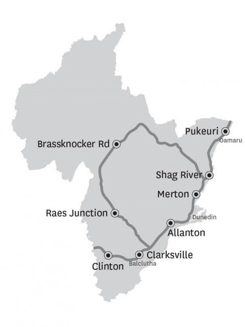 A map shows stock truck effluent disposal sites in Otago. Image: Otago Regional Council