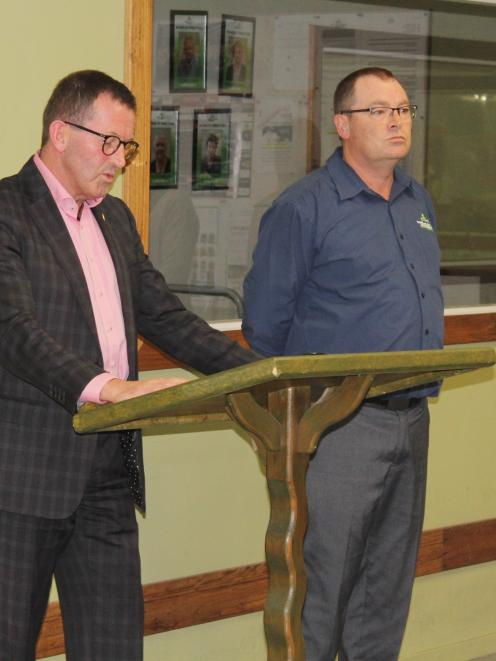 Southland disAbility Enterprises chairman Stephen O'Connor and general manager Hamish McMurdo break the news to the company's workers. Photo: Abbey Palmer