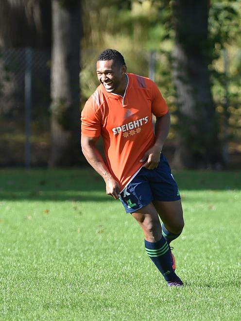 Highlanders and All Black winger Waisake Naholo moving freely at training at Logan Park yesterday. Photo by Gregor Richardson.