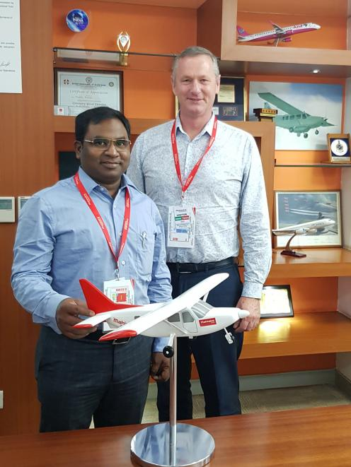 New Zealand Airline Academy director Jonathan Manuel (left) and Waitaki Mayor Gary Kircher at the launch of a new deal with AirAsia India in Bangalore, India. Photo: Supplied