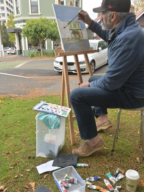 Beginner oil painter Peter Williamson (62) starts his first big canvas at the weekend. PHOTO:...