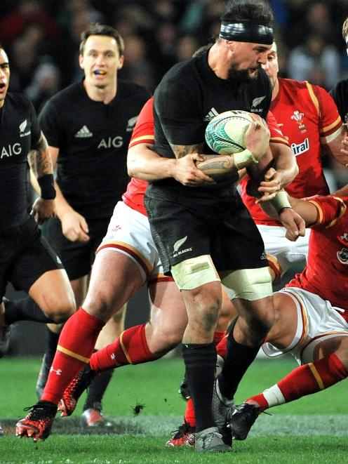 Elliot Dixon on the charge against Wales in his test debut at Forsyth Barr Stadium on 2016. PHOTO...