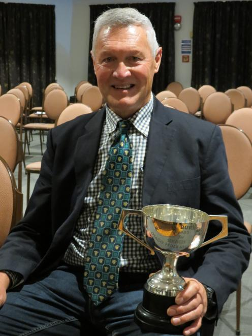 Kaitangata dairy farmer Stephen Korteweg was presented with Federated Farmers Otago's Robbie Burnside Cup during the organisation's annual meeting in Alexandra on May 10. Photo: Yvonne O'Hara
