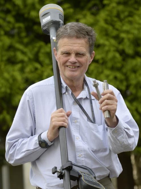 Dr Chris Pearson, of the University of Otago, holds a mount point for a GPS antenna for remeasuring of the height of Mt Everest. Photo: Gerard O'Brien