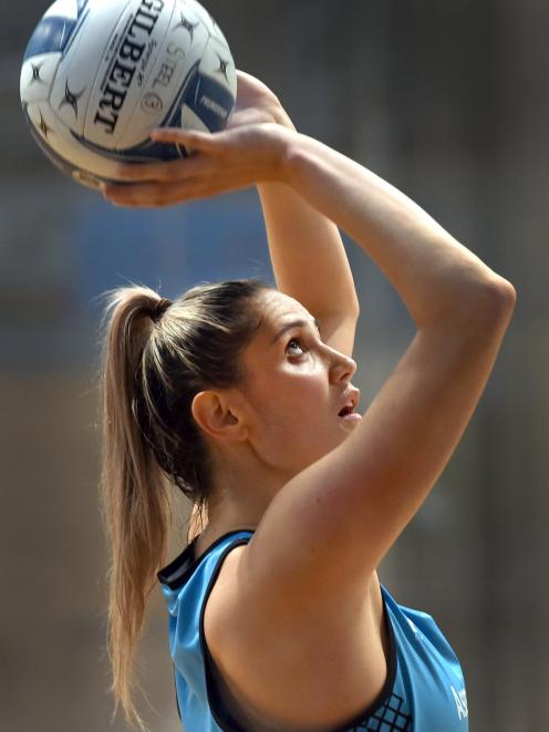 Southern Steel goal attack Te Paea Selby-Rickit trains at the Edgar Centre last week as she...