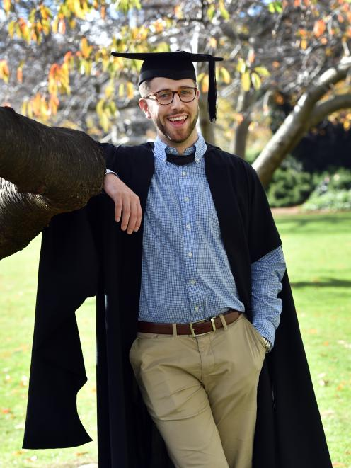Tyler Haslemore (22) prepares to graduate from the University of Otago today. ...