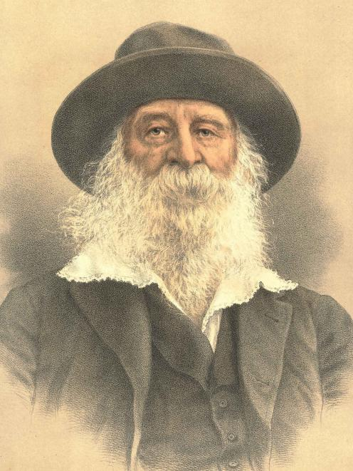 A lithograph portrait of Walt Whitman from 1895.