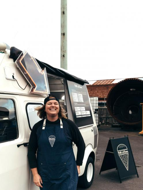 Olive Tabor outside her ice cream truck. Photo: Sophia Gamperie