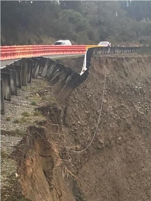 Severe erosion on a section of Lewis Pass, now reduced to one lane. Photo: Supplied via NZTA