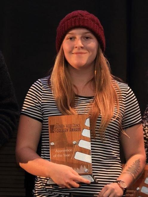 Paige Harland has been named apprentice of the year in the 2019 Southern Wood Council Forestry...