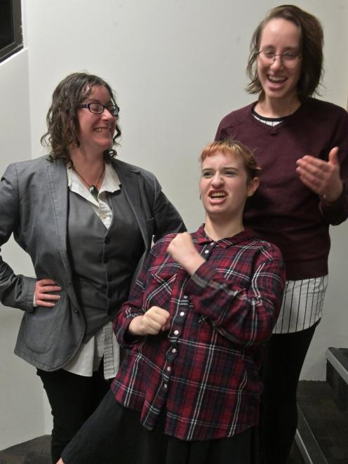 Rehearsing for Women Like Us are (from left) Kimberley Buchan, Thirza Violet Brizzell and Kat...