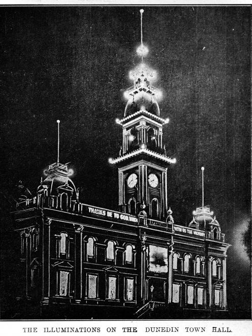 Peace celebrations in July, 1919 included light displays on buildings such as the Dunedin Town Hall. Photo: Otago Witness