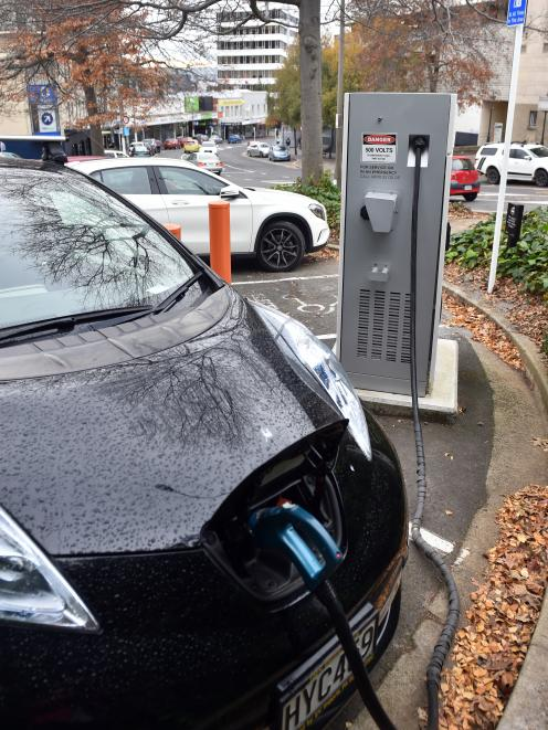 A Nissan Leaf charges at the rapid charge station in Filleul St yesterday. The Dunedin EV Owners...