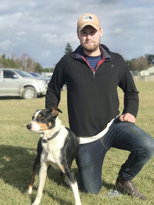Jack Mansfield with Jack the dog, who sold for a record $10,000 at the Ashburton dog sale, at...
