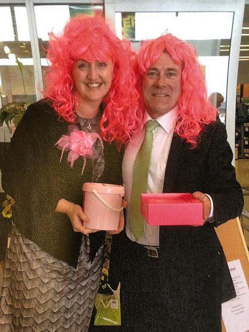 MPs Amy Adams and Michael Woodhouse collecting for charity.PHOTO: SUPPLIED