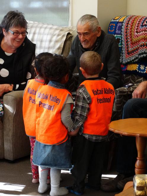 Whalan Lodge resident Milton Crawford chats to pupils from Waitaki Valley Preschool, who visit...
