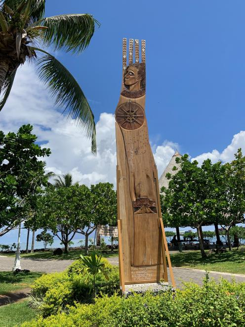 A memorial totem for Tupaia, who set sail for Aotearoa on Cook's Endeavour.