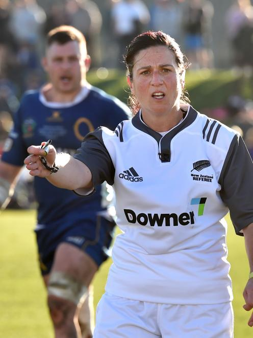 Referee Rebecca Mahoney takes charge during  the Ranfurly Shield match   between Otago and North...