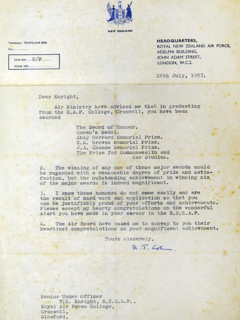A letter of commendation that Tom Enright received from the Royal New Zealand Air Force upon...