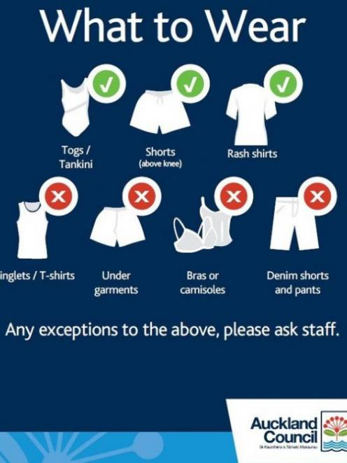 Auckland Council's guide on what to wear in council swimming pools. Image: Website