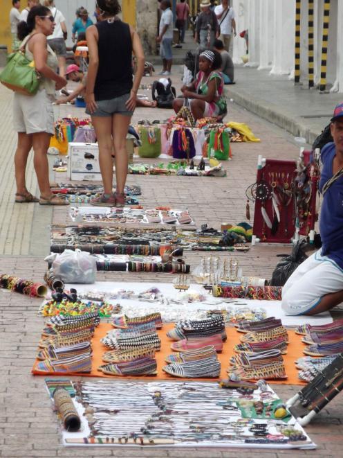 A street market in Cartagena.