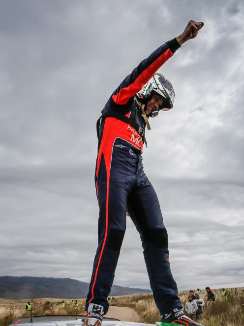 Hayden Paddon punches the air after winning Rally Argentina in 2016. Photo: McKlien Photography