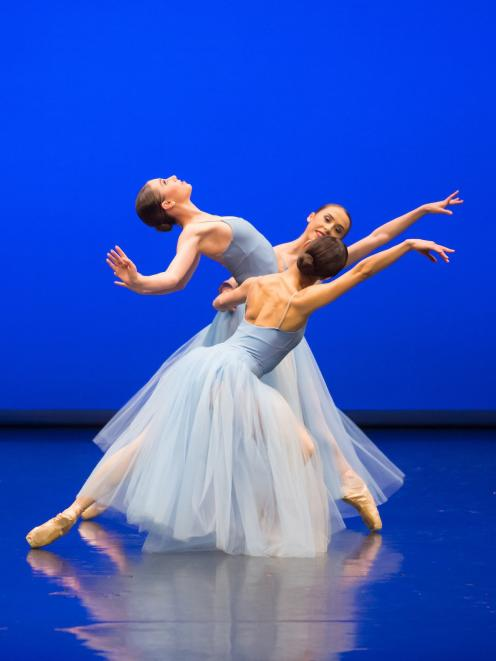 Royal New Zealand Ballet dancers perform in George Balanchine's Serenade as part of Bold Moves.