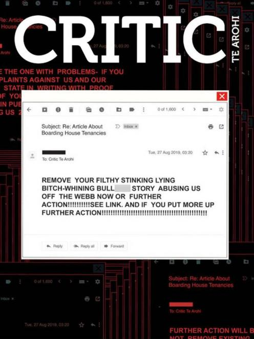 The front page of Critic magazine that hit the shelves yesterday. Photo: Supplied