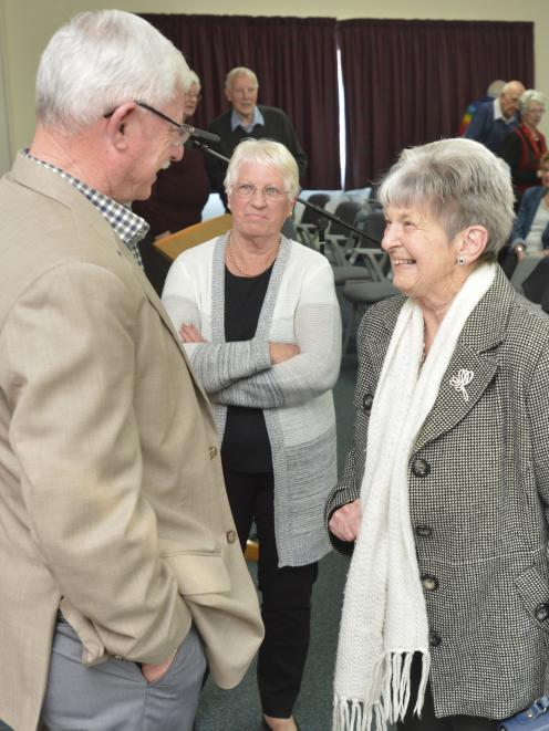 Sir Richard Hadlee chats with Kay Moen (right) and Brenda Cordelle after his presentation at...