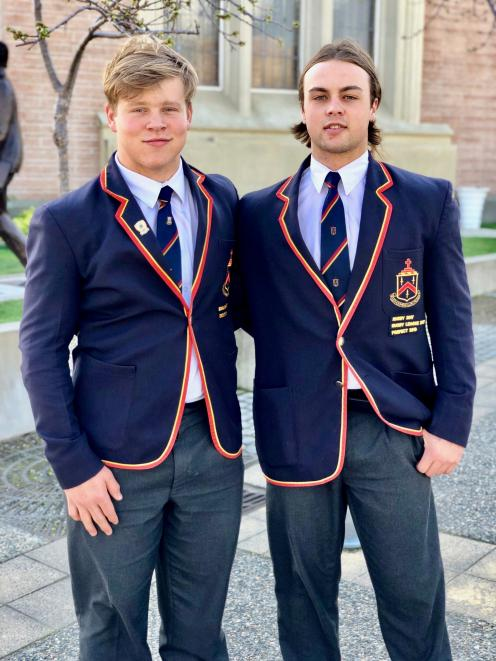 John McGlashan College First XV players George Bell (left) and Leroy Ferguson. PHOTO: SUPPLIED