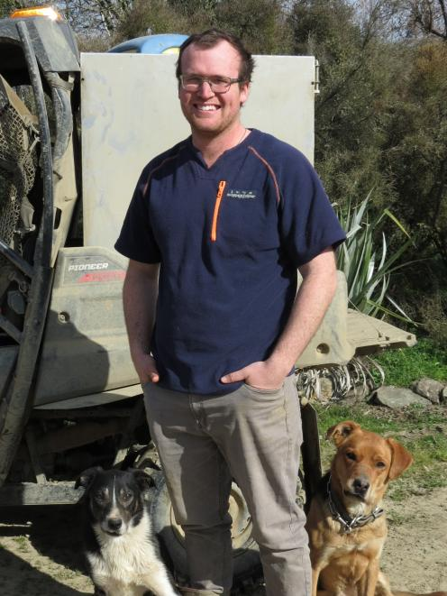 Senior shepherd Matthew Day, of Te Houka, pictured with Max and Oak, is using the $5000 Silver Fern Farms' plate to pasture scholarship to go towards studying for a Massey University agri-commerce degree, majoring in farm management, in February next year