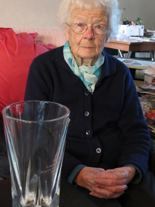 Daphne Crawford, of Millers Flat, was surprised when she was presented with a crystal vase to...