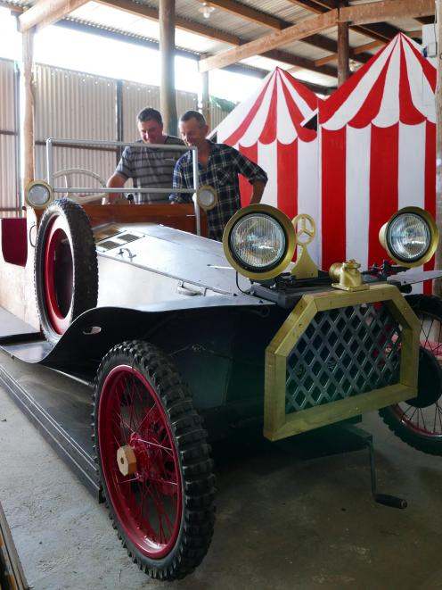 Chitty Chitty Bang Bang car builders Mark Brown and Ian Howden check out the finished centrepiece...