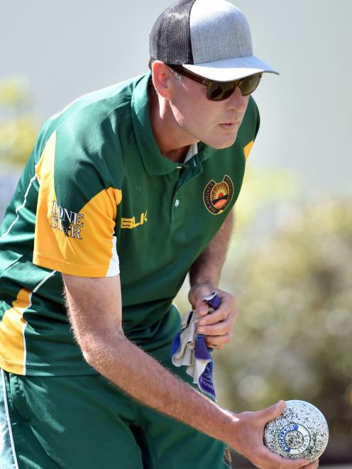 Jamie Hill, of Auckland, in action at the North East Valley Bowling Club on Saturday.PHOTO: PETER...