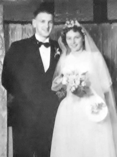 The couple at the Green Island Presbyterian Church on their wedding day, October 11, 1949. PHOTOS...