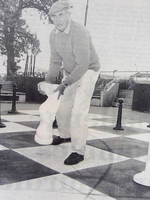 Roy Keeling making the first move on the East Street chessboard 24 years ago.