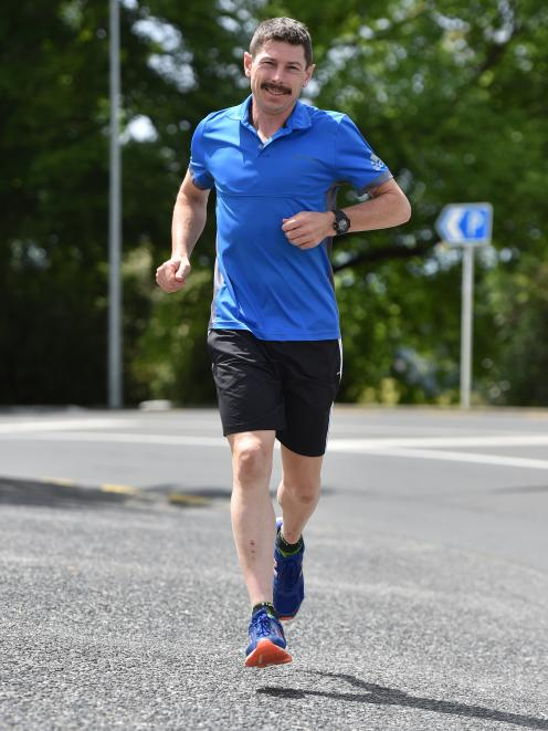 Chris Bisley goes for a jog in Dunedin after winning his fourth 100-mile race in the past year. Photo: Gregor Richardson