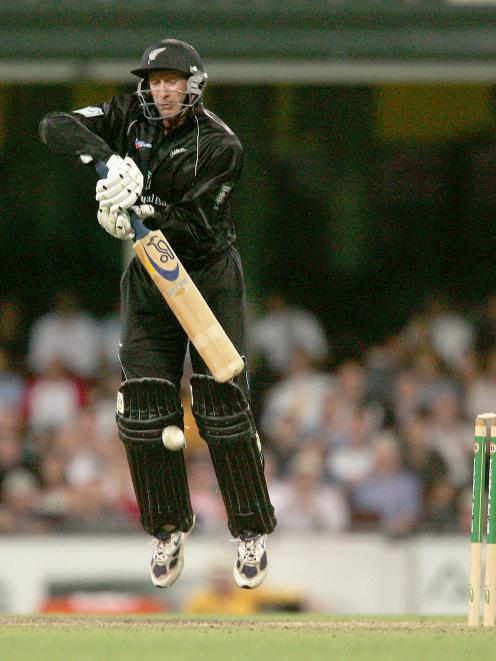 Harris defends a ball while batting with a severely injured shoulder in his last ODI against...
