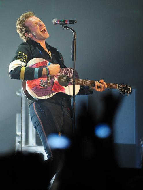 Coldplay frontman Chris Martin performs at a concert in Brisbane. PHOTO: CRAIG BAXTER
